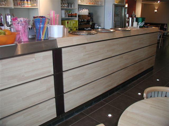 Also The Barfurniture, Cabinets, Seats, Grills, ... Can Be Made In The Same  Big Panels In The Same Colour As The Table Tops.